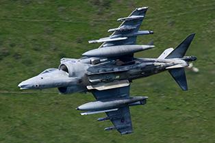 Harrier GR9 ZD375 low flying photo