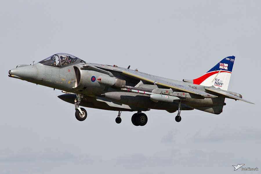 Royal Navy Special Tail Harrier ZD406 flying